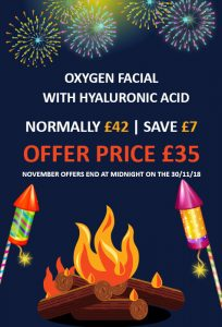 Oxygen facial with hyaluronic acid