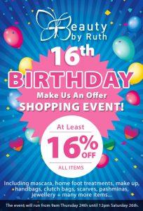 16th Birthday Shopping Event